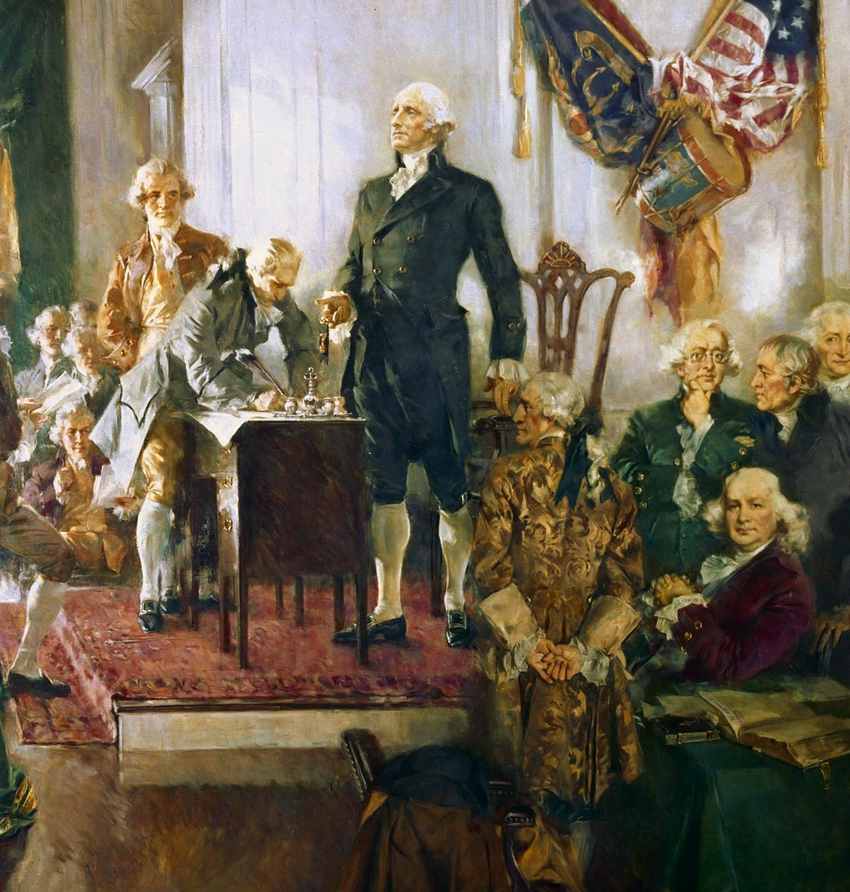 """George Washington presiding the Philadelphia Convention"", Howard Chandler Christy, The Indian Reporter, 31 December 1939"